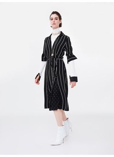 Ipekyol Kumaş Mixli Kuşaklı Gömlek Elbise Siyah